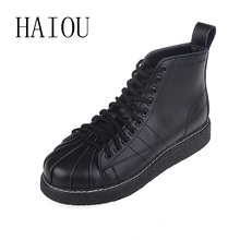 HAIOU Fashion Womens Boots Winter 2016 Lace Up Leather Ankle Boots for Women Flats Black Rubber Boots Work Round Toe Shoes Knot