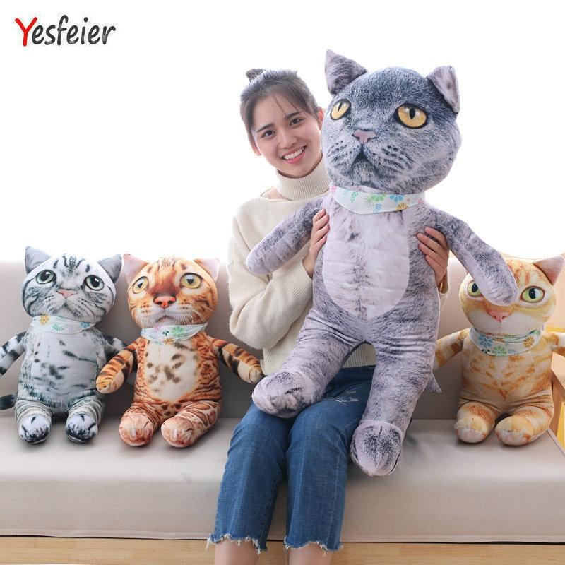 50/75cm Kawaii Simulation Cat Toys Staffed Soft Cute Cat Dolls Kids Gift Doll Animal Toys Home Decoration sofa cushions