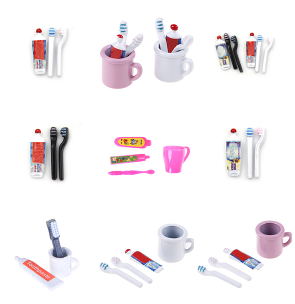 1Set 1:12 Dollhouse Miniature Mini Toothpaste Toothbrush Collectible Gift Miniature Toys Kitchen Furniture Toy