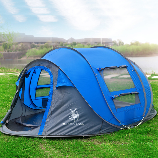 HUI LINGYANG throw tent outdoor automatic tents throwing pop up waterproof camping hiking tent waterproof large family tents 2