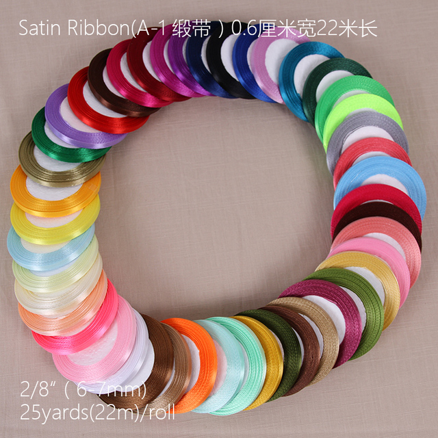 25 yards 22m Long Silk Satin 6mm Single Face Ribbon Party Home Wedding Decoration Gift Wrapping Christmas New Year DIY Material