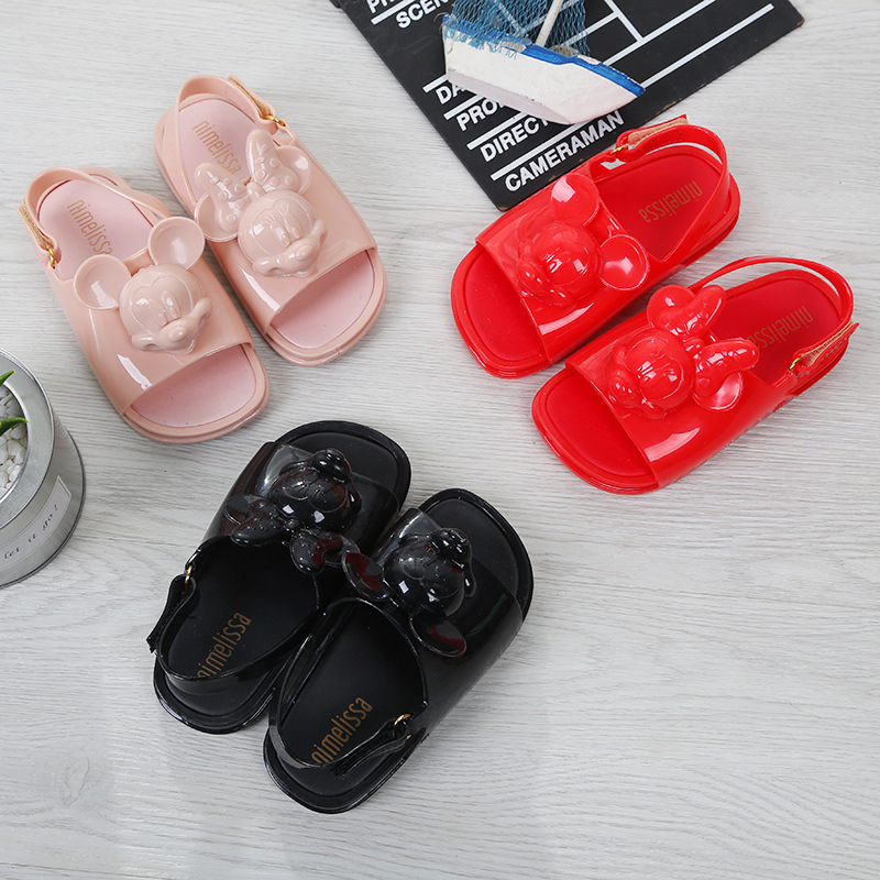 Mini Melissa 2018 Three-dimensional Twins Mickey Head Shoes New Spring Jelly Sandals Girl Non-slip Kids Sandal Toddler