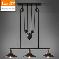 1,2,3 Head Ancient Industrial Style American Country vintage loft pulley pendant lights adjustable pendant lamp free shipping