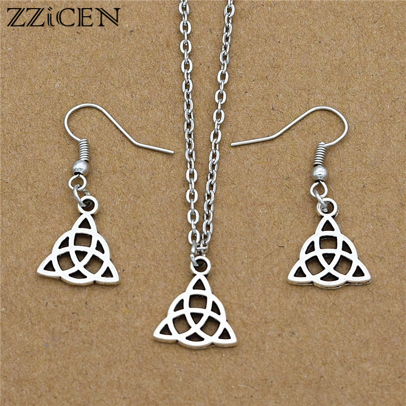 Silver Irish Celtic Knot Alloy Pendant 3mm Light Brown Leather Necklace