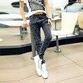 2014 nuevo Diseñador de moda retro cremallera inclinada única para hombre pantalones de harén, Gris entrepierna bajos caen denim lavados jeans ajustados para los hombres