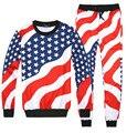 Conjunto impresa Stars Stripes gráfico jersey y pantalones de chándal basculador mujeres/hombres sudaderas pantalones 2 unidades conjuntos sudaderas traje