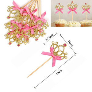 Image 3 - 10 adet altın taç kek Toppers prenses doğum günü partisi süslemeleri çocuklar erkek bebek kız bebek duş malzemeleri