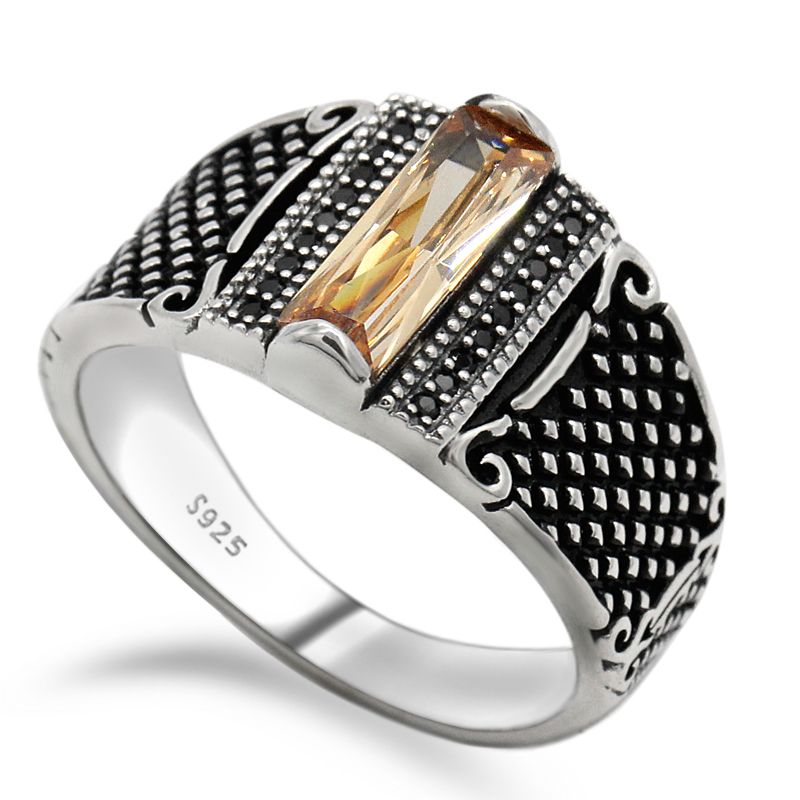 132b6454f Men Ring Gold Color Simple Single 925 Silver Cubic Zirconia Rings Jewelry  European Punk Style for Man Street Fashion Jewelry