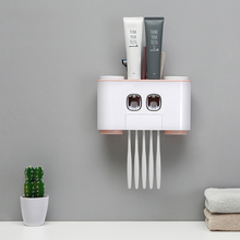HS050 Creative suction toothbrush holder Wall Cup Set toothbrush rack Double position automatic squeezing toothpaste 26*15.5cm цена