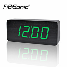 FiBiSonic Big Number LED Wooden Table &Desk Alarm Clock with Temperature Wood Voice Activated Digital Table Clocks