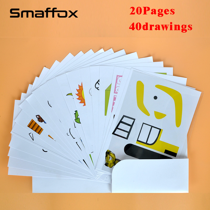 SMAFFOX 3D Pen Drawing Template,20 Page,all 40 Templates,it Help Kids Familiar With The 3D Printing Pen
