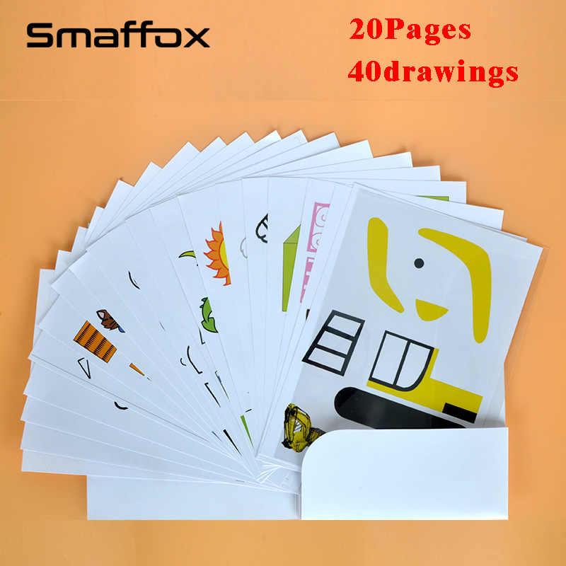 SMAFFOX 3D pen tekening sjabloon, 20 pagina, alle 40 sjablonen, het helpen kinderen vertrouwd met de 3D afdrukken pen
