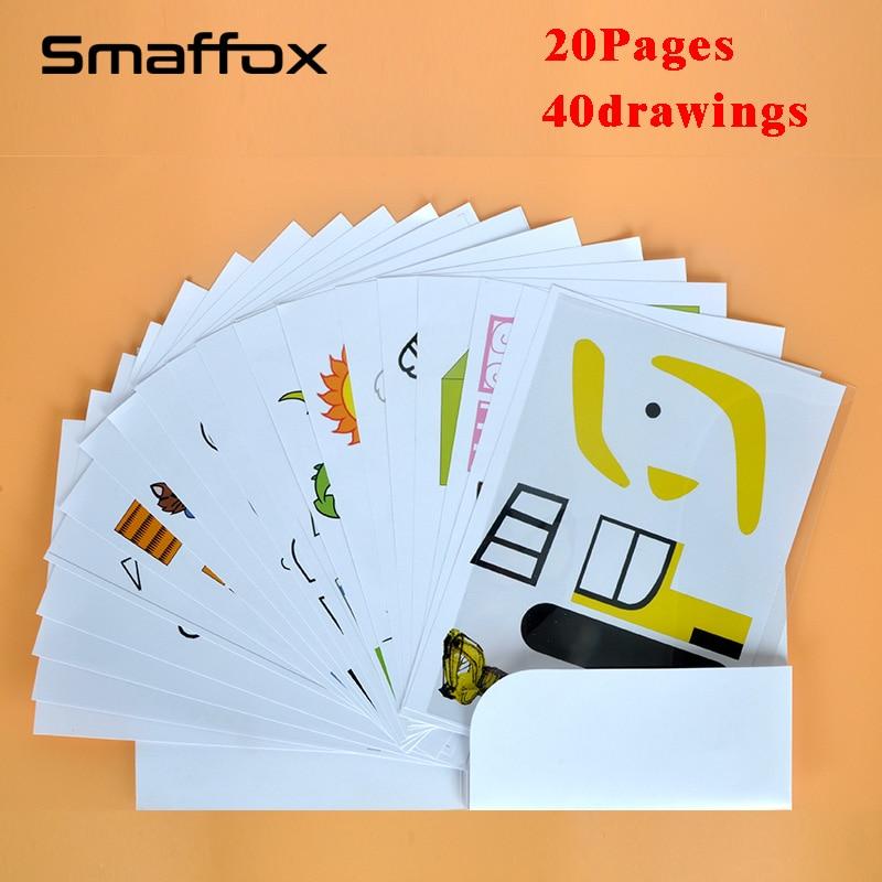 SMAFFOX 3D stift zeichnung vorlage, 20 seite, alle 40 vorlagen, es helfen kinder vertraut mit die 3D druck stift
