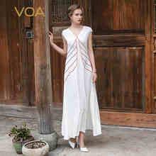 VOA 2017 Summer Sexy V neck White Silk Crepe Slim Long Dress Short Sleeve Plus Size