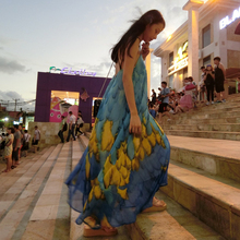 Open back sling holiday beach dress summer chiffon bohemian goddess temperament blue dress maternity dress comfortable spring and summer new style seaside holiday dress solid color split strap dress open back beach dress