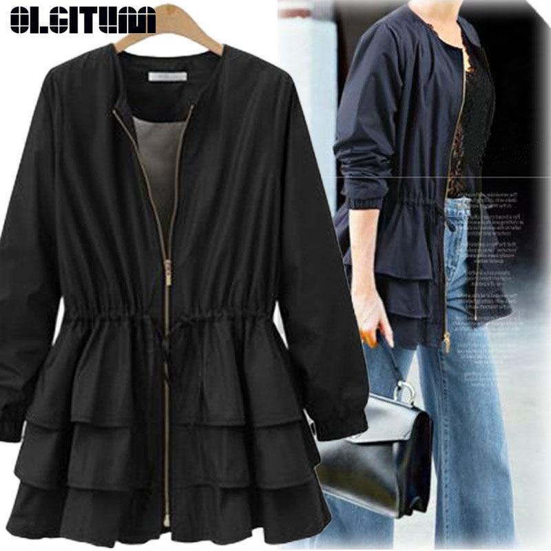 OLGITUM Женское пальто с длинным рукавом, черное Свободное пальто с круглым вырезом и каскадными оборками, большие размеры, весна 2020