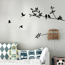 Tree Branch Black Bird Art Wall Stickers Removable Vinyl Decal Home wall stickers for kids rooms Living room adesivo de parede(China)