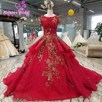 AOLANES 2018 Short Sleeves Red Lace Tulle O Neck Royal Train Bridal Gown Lace Up Ball