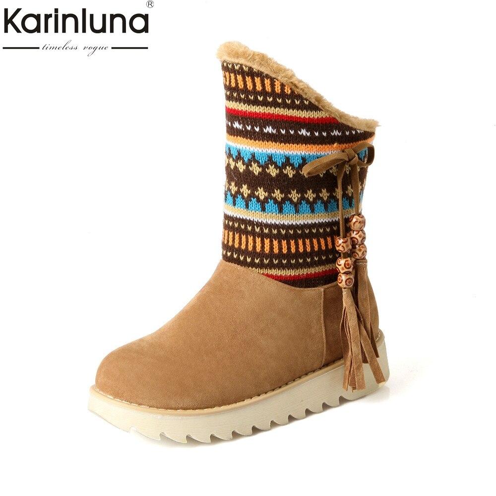 где купить KARINLUNA 2017 Large Size 33-43 Ethnic Style Flat Heel Woman Shoes Women Add Warm Fur Platform Winter Fringe Snow Boots Plush по лучшей цене