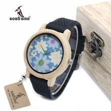 BOBO BIRD WA30 Retro Fabric Dial Ladies Wood Watches With Black Silicone Straps Bamboo Wood Quartz