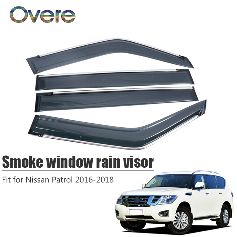 Overe 4Pcs/1Set Smoke Window Rain Visor For Nissan Patrol 2016 2017 2018 Styling ABS Awnings Shelters Guard Car Accessories Awnings & Shelters     - title=