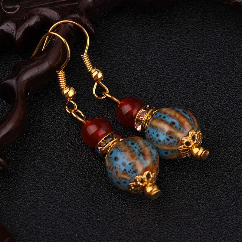New Ethnic gold earrings brand handmade vintage jewelry,Chinese wind ceramics dangle earrings
