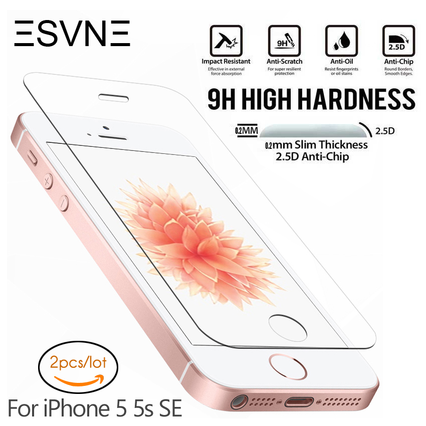 ESVNE 0.26mm 2.5D Protective Glass For IPhone 5S Glass IPhone 5 SE Screen Protector On Tempered Glass Film (2 Pcs/lot)