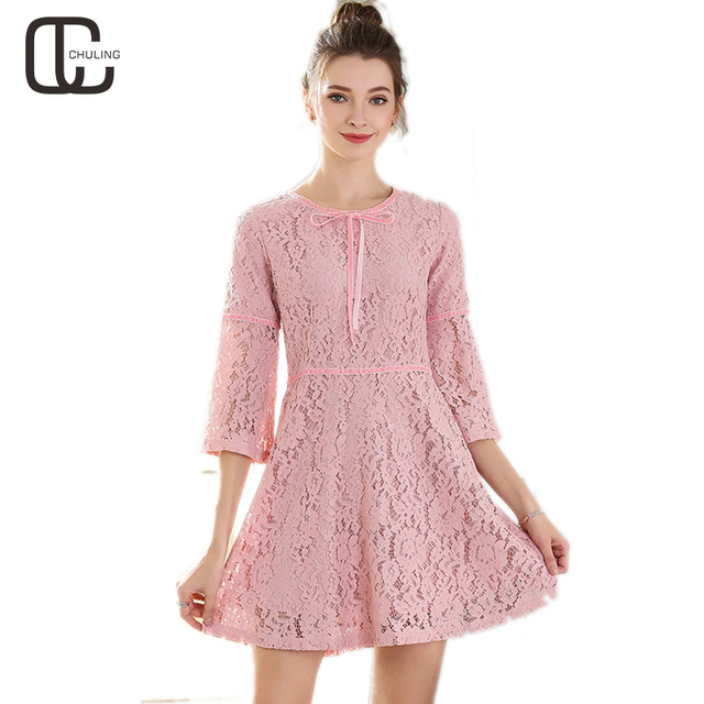 2018 Spring Women Elegant Lace Pink Red Dresses Bow Ribbon Casual