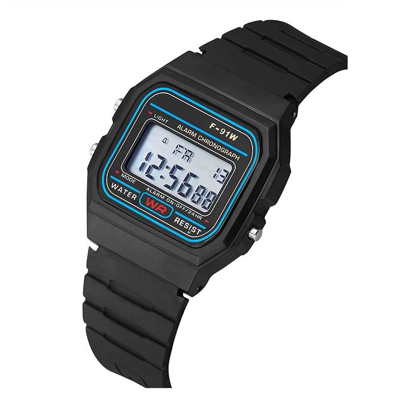 Led Digital Black plastic watches men's Sports Watch luminous F91W - Men's Watches