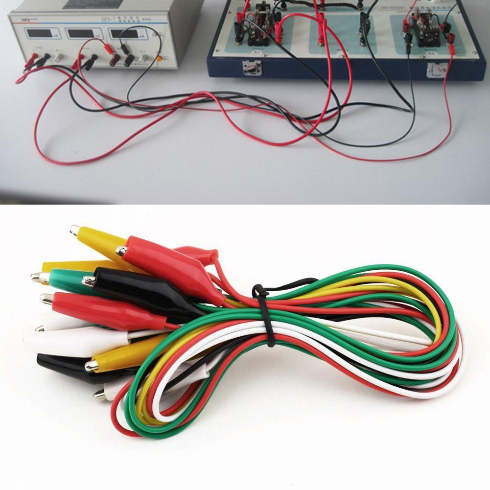 10x pinze morsetti coccodrillo test elettrici batteria auto 50mm rosso+nero
