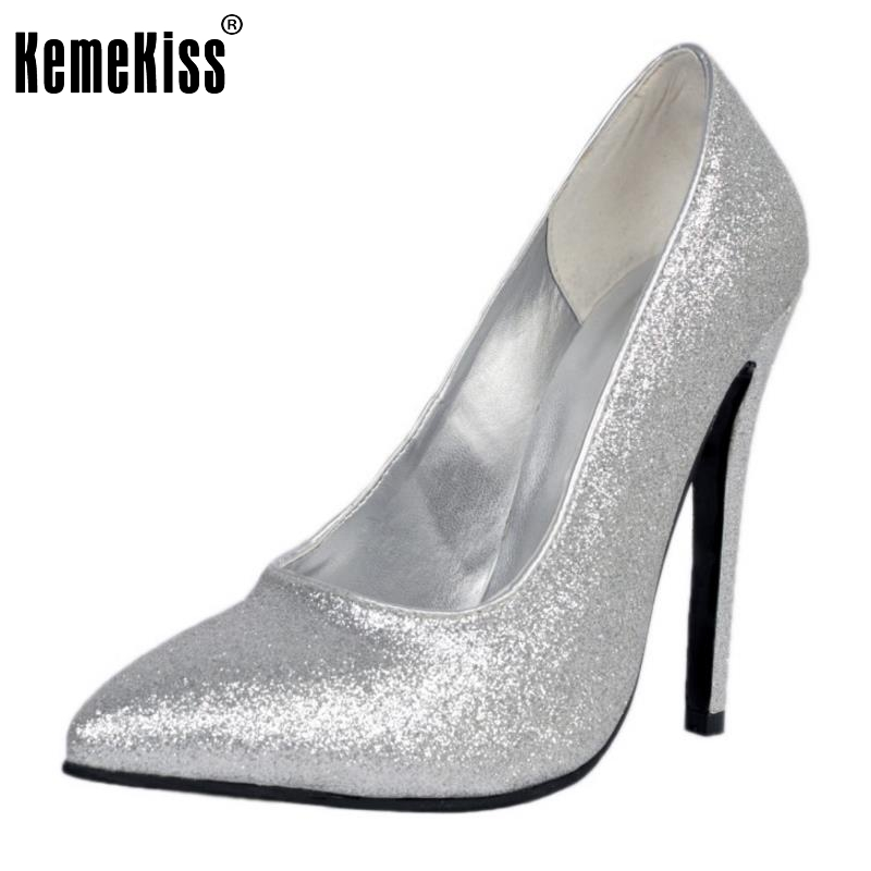 High Heels Women Pointed Toe Pumps Fashion Glitter Thin Heel Shoes Woman Sexy Wedding Party Heeled Footwear Shoes Size 34-47 bowknot pointed toe women pumps flock leather woman thin high heels wedding shoes 2017 new fashion shoes plus size 41 42