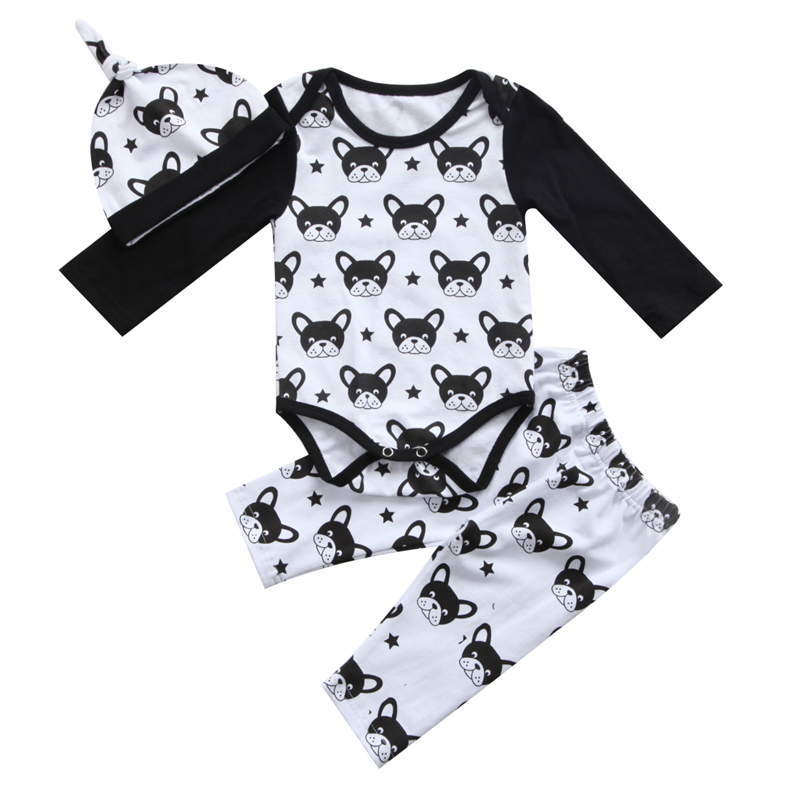 3Pcs Newborn Baby Boys Girls Long Sleeve Cartoon Romper Pants Newborn Bebes Cotton Clothes 2017 New Arrival Outfits Clothes Set