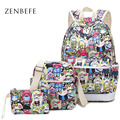 ZENBEFE Polyester Backpacks New Design Women'S Brand Backpacks 3 Pcs/Set School Bag For Teenage Girls Fashion Mochila Feminina
