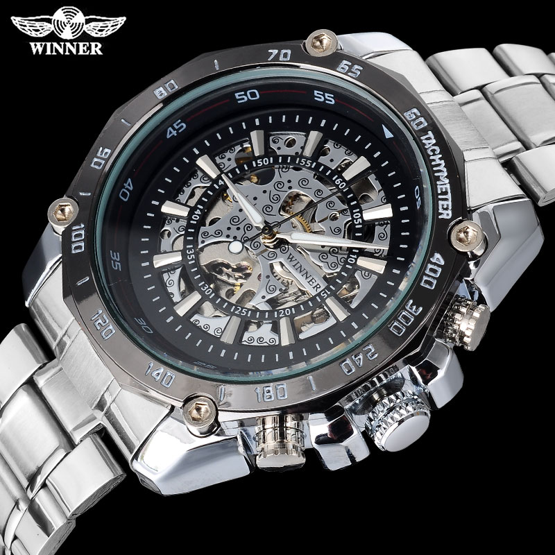 WINNER fashion casual men mechanical watches famous hot brand men skeleton black wristwatches stainless steel band reloj hombre adriatica a3800 1243qz