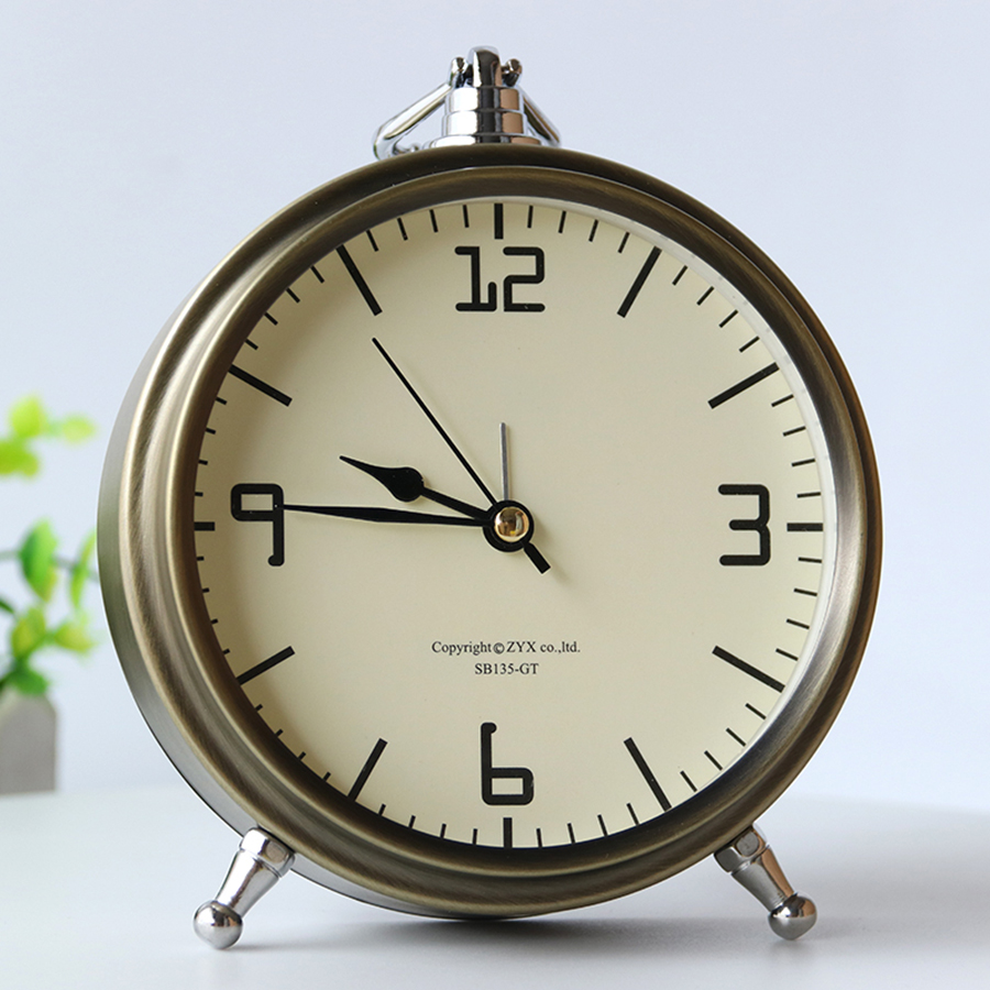 Nordic Metal Vintage Alarm Clock Bedroom Simple Needle Wake Up Bedside Desktop Digital Clock Watch Mechanism Despertador 6NZ027