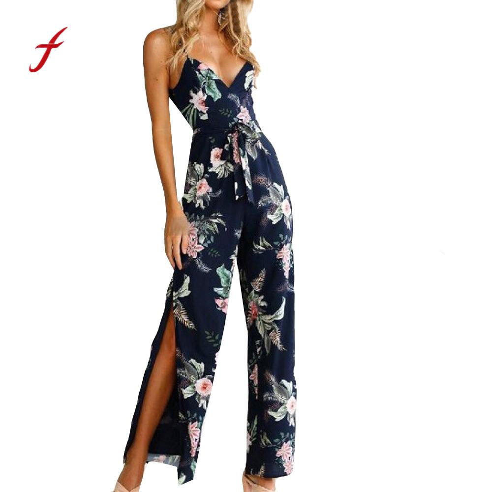 Jumpsuits for women 2018 Fashion Sexy Jumpsuit V-Neck Floral Printed Sleeveless Casual bodysuit women sexy playsuit plus size