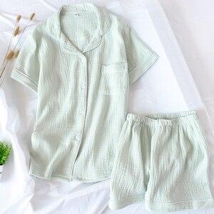 Image 5 - Summer Cotton Crepe Short sleeved Shorts Pyjamas Women Solid Thin Sexy Pajamas Loungewear Sleepwear Pink Home Couple Pijamas