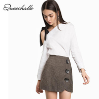Queechalle White color long sleeve shirt Female bow ties skew collar Irregular blouse shirts S XL 4 size sweet women tops