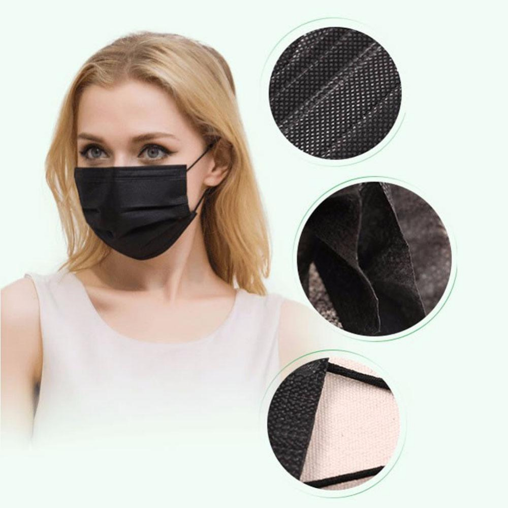 Toiletry Kits Tools & Accessories Hot Sale 50pcs Professional Disposable 4 Layers Activated Carbon Face Mask Doctor Haze Pm2.5 Flu Allergy Black