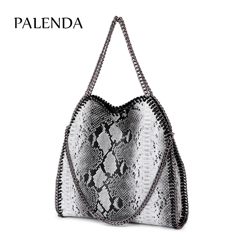 2018 autumn and winter new snake pattern one shoulder three chain bag portable folding leopard lady bag big bag