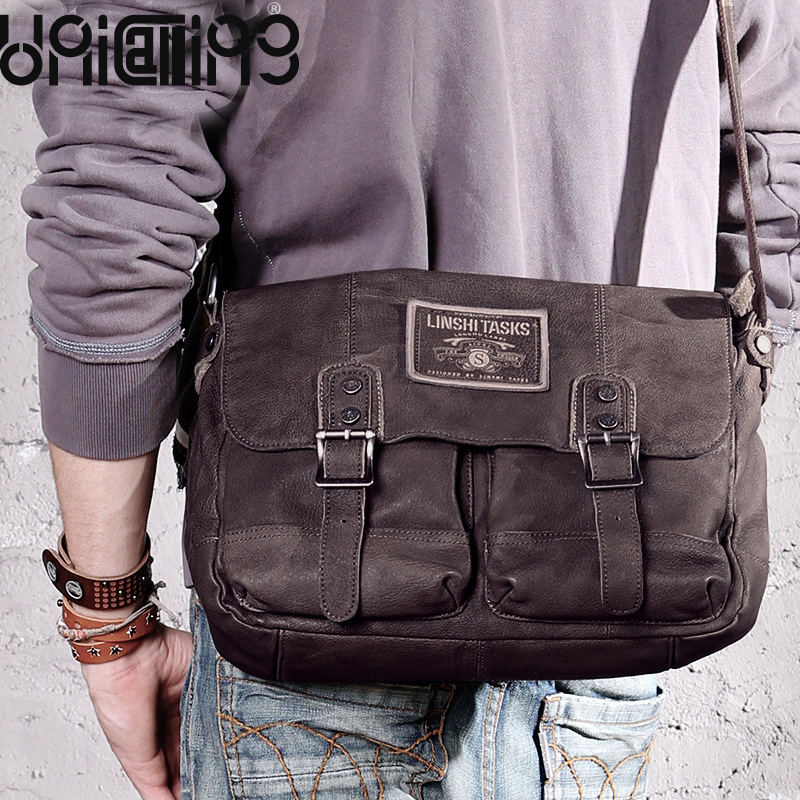 f5a121cb8a2b мужская повседневная винтажная сумка мужская натуральная свиная кожа сумка  ретро модная мужская повседневная сумка | Сумки через плечо с Алиэкспресс  ...