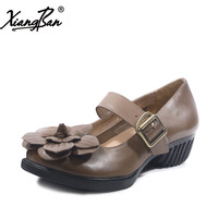 Xiangban 2018 Women Shoes Genuine Leather Handmade Round Head Buckle Ladies Shoes Mid Heels Vintage
