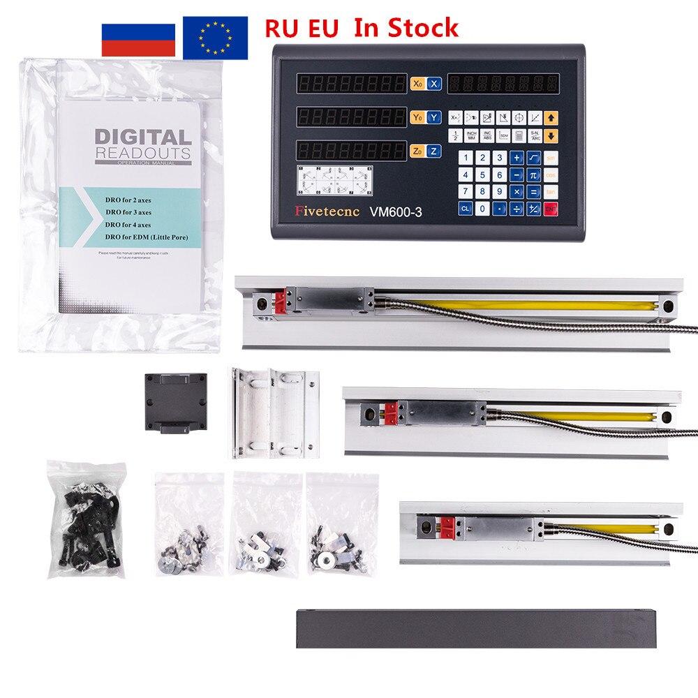 Fivetecnc DRO 3 assi Lettura Digitale contatore + 3pcs scala lineare di viaggio 100-1020 millimetri per la fresatura tornio macchina set completo