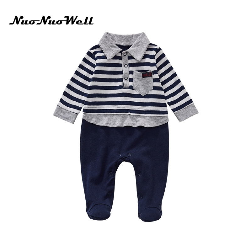 Baby Boys Cotton Jumpsuit Autumn Baby Boys Clothes Long Striped Sleeve Romper Boy Jumpsuit Outfits Kids Romper Soft Clotheds 2017 summer toddler kids girls striped baby romper off shoulder flare sleeve cotton clothes jumpsuit outfits sunsuit 0 4t