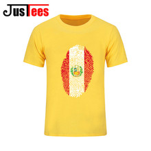 Cheapest Hot Selling Homewear O Neck Cotton Peru Flag Fingerprint T shirt men Men's personality Tee shirts for summer travelling