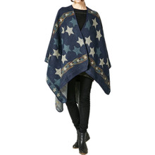 Autumn and Winter Ladies Travel Shawl Warm Pentagram Stripe Pattern Cashmere Thickening Cloak Ethnic Style(China)