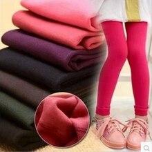 Осенне-зимние леггинсы для девочек, утепленные бархатом детские штаны ярких цветов для девочек От 3 до 9 лет детские леггинсы для девочек