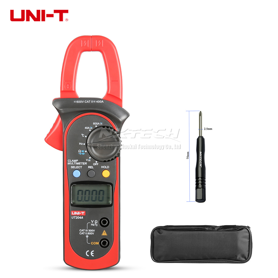 UNI T Digital Clamp Meter Multimeter UT204A UT204 UT203 400A Temperature Capacitance AC DC Volt Current