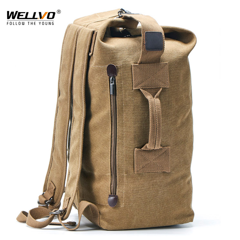 Large Capacity Man Travel Bag Mountaineering Backpack Male Luggage Top Canvas Bucket Shoulder Bags For Boys Men Backpacks XA88C(China)