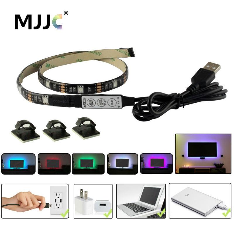 USB LED sloksnes gaismas TV aizmugures apgaismojums 5V ūdensnecaurlaidīgs RGB SMD 5050 LED lentes lentes apgaismojums datoram PC apdares apgaismojums
